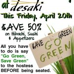1/2 OFF All Food At desaki Restaurant in Swiftwater This Friday April 20th, 2012